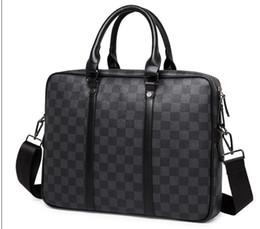 Borsa a tracolla per laptop da uomo in pelle nera cheap briefcase sales da vendita di valigette fornitori