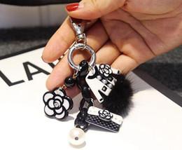 2019 chiave c Nuovo 2019 classico logo C C classico piccolo profumo perla catena chiave della camelia moda retrò personalizzato borsa a mano decorazione pendente contatore regalo chiave c economici