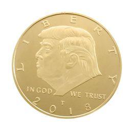 téléphone de bureau vintage Promotion Pièce commémorative 4CM America President 2 dessins Donald Trump Souvenir Coins EDC Devises étrangères Craft 5 Pièces ePacket