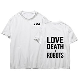 robôs do amor Desconto Amor Morte E Robôs Mens Camisetas Verão Imprimir Em Torno Do Pescoço Dos Homens de Manga Curta Tops Moda Secagem Rápida Mens Tees