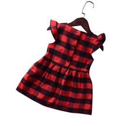 Argentina Versión del vestido de la niña de la cómoda tela nueva niña de verano a cuadros rojo vestido de manga con volantes niño lindo niño falda cheap baby red plaid dress Suministro