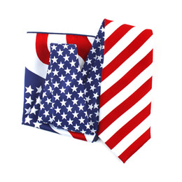 2019 großhandel gestreifte krawatten für männer Amerikanische Flagge patriotischen 4. Juli Urlaub Krawatte oder Fliege USA Flagge Bowtie Set oder Krawatte Set