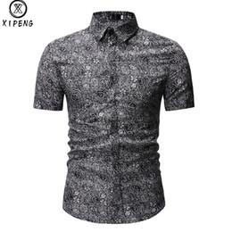 440f2f52de6bc 2019 Summer Male Short Sleeve Shirt Casual Hawaii Mens Dress Shirts Camisa  Masculina Men Vintage Flower Print Shirt Beach