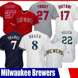 Jersey de Los Ángeles barato Los 27 jerseys de Mike Trout 22 Christian Yelich Jerseys 17 Shohei Ohtan jerseys 7 Eric Thames 8 Ryan Braun desde fabricantes