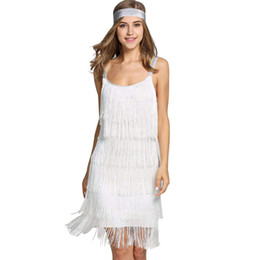 5aa7e38d9f7c mini abito bianco Donna Nappe Cinghie Abito Gatsby Cocktail Party Flapper  con frange Costume Dress