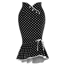 Donne polka dot strette online-Moda Donna Sexy Casual Pois Botton Ruffles Tight-Fitting Hip Party Skirt Saia Feminina 2019 Faldas Mujer