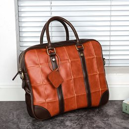 "Bolso de color del bolso online-Vintage Fashion Block Color Horizontal Handbag Big 14 ""Laptop Bag Cool Young Men Business Briefcase"