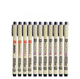 Mikron stifte online-Sakura Pigma Mikron Stift Neelde Soft Brush Zeichenstift Lot 005 01 02 03 04 05 08 1.0 Brush Art Marker