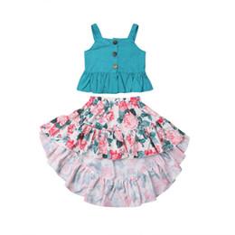 Mode Mignon Ensemble Enfant En Bas Âge Enfant Bébé Fille Vêtements D'été Vert Points Dots Débardeurs Longue Floral Jupe Tenues 2-7T ? partir de fabricateur