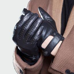 2019 нейлоновые спандексные перчатки Мужская из натуральной кожи Перчатки Мужской дышащий сафьян Thin Весна Лето Осень Driving противоскольжения варежки Мужские перчатки ML045