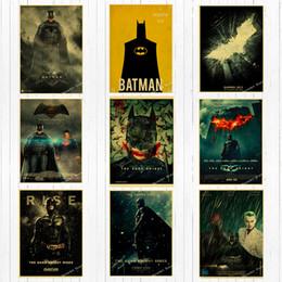 Carteles de la pared de superhéroes online-Retro Dc Movie Super Hero Batman Canvas Painting Vintage Wall Kraft Carteles Recubiertos Pegatinas de pared Decoración del hogar Imágenes