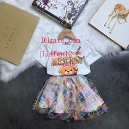 robes de baptême gonflées Promotion enfants deux pièces ensemble fille belle maille jupe courte à manches courtes fille robes enfants princesse robe enfant vêtements Di-s2