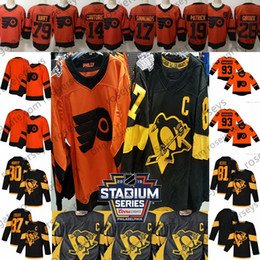 Jerseys pingüinos online-2019 Stadium Series Penguins Black Flyers Jersey naranja Crosby Kessel Guentzel Malkin Giroux Hart Couturier Simmonds Patrick Voracek en blanco