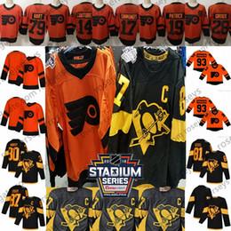 2019 Stadium Series Penguins Black Flyers Jersey naranja Crosby Kessel Guentzel Malkin Giroux Hart Couturier Simmonds Patrick Voracek en blanco desde fabricantes