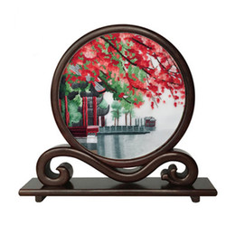 2019 écran d'artisanat Main double-face Suzhou Broderie Wenge Cadre Ornements Chinois Petit Écran Table Décoration Artisanat Cadeaux écran d'artisanat pas cher