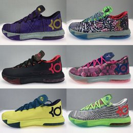 Sapatos baixos top basketball ouro on-line-Alta Qualidade Athletic Mens What The KD 6 VI Low Tops Tênis de basquete tênis tia Pearl Pink BHM MVP Blue Gold Kevin Durant Floral KD6