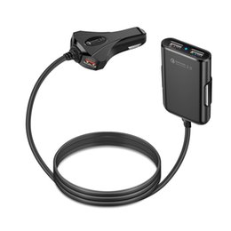carregadores de cabo de telefone Desconto Quick QC3.0 Carregador de Carro 12 V 1.5A 4 Cabo de Extensão de Cabo USB para o Banco Traseiro Carga Com Um Clipe de Telefone Inteligente de Alta Qualidade