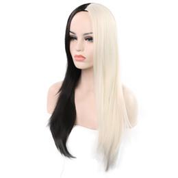Mezcla de estilos de color de cabello online-Nuevo estilo de peluca de cabello largo y liso peluca de moda personalidad mezcla de color cabello largo y liso arnés de fibra sintética