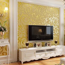 Europäischer stil tapeten rollen online-European Style Vliestapete Klassische Tapetenrolle Gold Grau Beige Tapete Luxus Tapete Floral papel