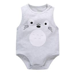 Mono totoro online-Toddler Baby Boys Girls algodón de dibujos animados Body 2018 recién nacido Totoro Jumpsuit ropa Leotardo infantil Body sin mangas