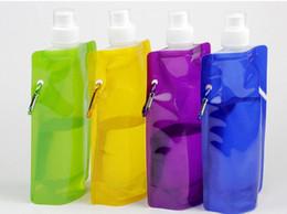 Flache wasserflaschen großhandel online-Großhandel Wasser Tasche kommt flach, tragbare faltbare Wasserflasche Outdoor Sport Zubehör für Camping