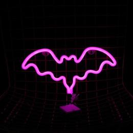 bebiendo pintura de bar Rebajas 2018 Nuevo rosa Bat muestras de neón luces de la pared del sitio casero de la decoración del dormitorio Barra de fiesta Placas Las placas decorativas 35,5 * 17 * 2 CM