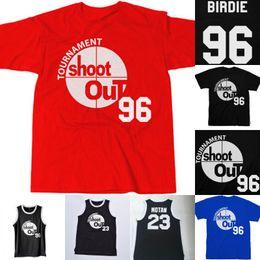 мужская баскетбольная форма Скидка Mens 96 Birdie 23 Motaw Tournament Shoot Out Баскетбольные футболки над ободком Uniform Movie Баскетбольные майки Черный Красный Синий Заказ смешивания