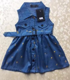 Marchi di abbigliamento al dettaglio online-Vendita al dettaglio di nuove neonate risvolto abito in denim per bambini moda principessa abito estivo abbigliamento per bambini vendita calda vestiti da ragazza di marca