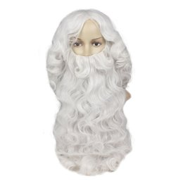 mehrfarbige haare gefärbt Rabatt Lange gewellte synthetische Perücken mit Weihnachtsmann mit der Perücke Ombre Weißes Haar Hohe Temperture Fiber Cosplay Perücke Männer und Frauen