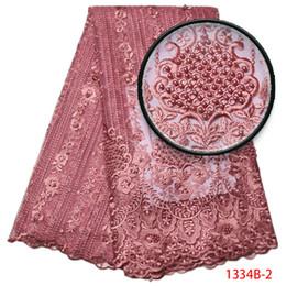 Deutschland Erröten Rosa New Net Französisch Spitze Stoff Kleid Hohe Qualität Nigeria Material Mesh Perlen Steine Hochzeit Tüll Cord Stoff GD1334B-2 Versorgung