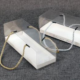 2019 оптовый ясный косметический мешок из пвх Четкая торт Упаковка коробка с ручкой Портативного Transparent рулет торт Box Десерт Печенье Выпечка Box