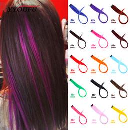 clip de extensiones de cabello blanco Rebajas Extensiones de cabello de colores falsos rectos YYOUFU Raya de cabello arco iris Sintética Rosa Naranja Blanco Púrpura Hebras en clips