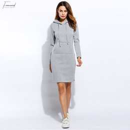 2019 vestido de camurça de lã Vestido de inverno Vestidos Mulheres Hoodies Moletom Vestido 2019 Moda Cordão Mangas Completas Velo Mulheres Vestidos Plus Size desconto vestido de camurça de lã