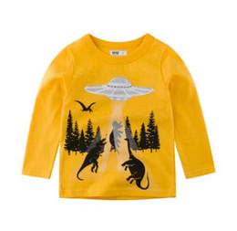 Tailles de chemise cm en Ligne-Dinosaur Tree Print vêtements enfants garçon t-shirt enfants shirt à manches longues printemps conception garçon shirt 100% coton automne t-shirt taille 6-14T
