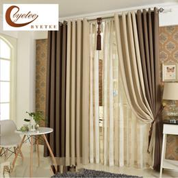 Cortinas de acabado online-[byetee] Color sólido coreano Lino Cortina Sombra Tela Algodón Cortinas Sala de estar Cortina Dormitorio Acabado Cortinas personalizadas