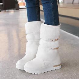 ECTIC Promotion de grande taille 43 femmes Bottes hiver Mode Chaussures Compensées cachées fourrure chaude Femme Plate forme Med mollet Bottes de