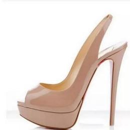 Sandalias de dedos online-Color Desnudo Boca de Pescado 14 cm Tacones Inferiores Rojos, Mujeres Marca de Lujo Plataforma de charol negro Sandalias peep-toes, Zapatos de cuero brillante
