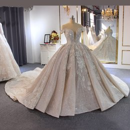 Imagens de off on-line-Lace Alças real Pictures Luxury Ball vestido vestidos de casamento 2020 Blush rosa lantejoulas Appliques Plus Size Arábia árabe vestido nupcial