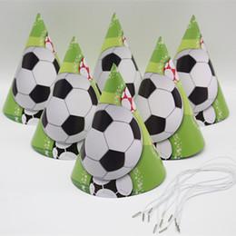 artículos de fútbol Rebajas Fútbol animal tema de dibujos animados sombrero niños cumpleaños fiesta fiesta atmósfera elementos decorativos 6 piezas
