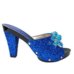 royal blue decorations for party Promo Codes - Fashionable royal blue women pumps with crystal beads decoration african high heel shoes for dress V2083-2,heel 12CM