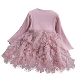 falda larga para niñas Rebajas 3 colores de los bebés de princesa Dress Kids manga larga que hace punto del marco del arco de empalme de malla tutú vestidos de los niños falda de la torta diseñador de ropa M469