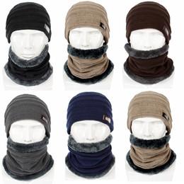 Sombreros para hombre fedoras online-Sombrero de punto de lana gruesa de invierno de alta calidad para hombres + pañuelo para el cuello, manténgase caliente, conjunto de 2 piezas, bufandas de lana para hombre, bufandas