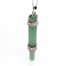 aventurine pendants Promo Codes - Kraft-beads Personalized Silver Plated 2 Layer Hexagon with Round Bead Scepter Pendant Green Aventurine Jewelry