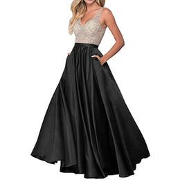 2019 Seks elbise zarif A-Line Uzun Gelinlik Modelleri Çift V Yaka Boncuklu Saten Abiye Parti Abiye vestidos de dresses longo nereden