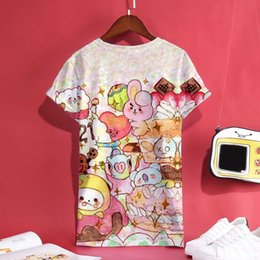 f93de894d1a1 Bts Bt21 Kpop 3d Print Anime Short Sleeve T-shirt Women Cartoon T Shirt Top  Summer Fashion Femele Cotton Clothes Y190123