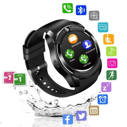 Reloj deportivo v8 online-Smart Watch V8 Men Bluetooth Sport Watches Women Ladies Rel GIO SmartWatch con la cámara SIM Tarjeta Slot Android Phone PK DZ09 Y1 A1