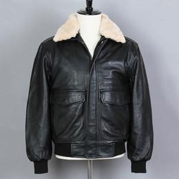 casacos de peles pretos genuínos Desconto 2018 Avirex Bomber Jacket Preto Jaqueta de couro genuíno Homens carneiro Fur Loose Couro Real Casaco de Inverno