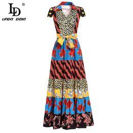 LD LINDA DELLA Fashion Runway Summer Long Dress V Neck da donna Flower Leopard stampato patchwork Vintage vestito con cintura etnica cheap ethnic runway dress da abito etnico di pista fornitori