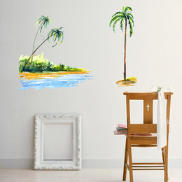 3D Beach Dusk Tropical Wall Stickers Vinyl Murals Wall Print Deco AJSTORE UK