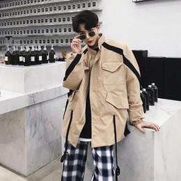 Giacche uomo superiore online-2019 New Spring Trend Japan Style Jacket Unlined Upper Indumento Uomo Cappotto lungo Giacca a vento mimetica Colore Khaki Spedizione gratuita